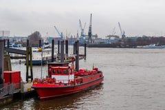 Fireboat anchored at Port of Hamburg Royalty Free Stock Photo