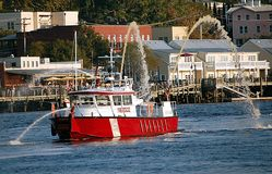 Fireboat on Cape Fear River Royalty Free Stock Photo