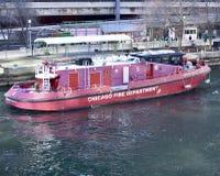 Fireboat di Chicago Fotografia Stock