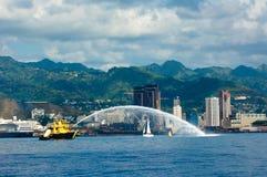 Fireboat Honolulu Stock Afbeeldingen