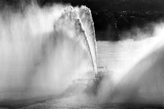 A fireboat in hudson river stock images