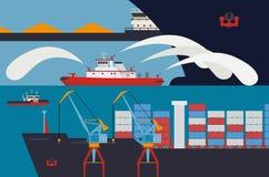 Fireboat im Hafen Lizenzfreie Stockfotos