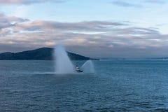 Fireboat in San Francisco Bay Stockbilder