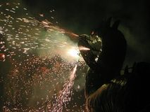 A firebreathing dragon. A firebreating dragon, during the Festes de la Merce, Barcelona, Spain Stock Image