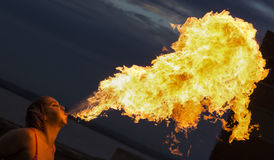 Firebreathing. A firebreathing performance in Hull, Yorkshire, UK Stock Photography