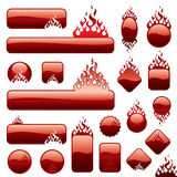 Firebuttons set. A set of a fire bottons at white background Royalty Free Stock Images