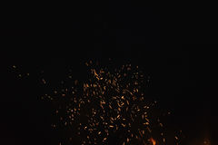 Firecamp sparks over night sky Royalty Free Stock Photo