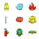 Firecloth icons set, cartoon style. Firecloth icons set. Cartoon illustration of 9 firecloth vector icons for web Stock Photos