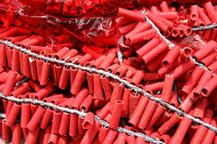 Firecracker. Red small firecrackers with small fuse Stock Photography