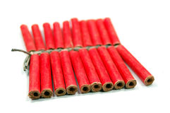 Firecracker. Red small firecrackers with small fuse Stock Image