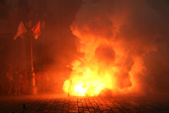 Firecracker. Fire and smoke in a firecracker Stock Photos