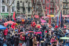 Firecracker Ceremony - Chinatown, New York City. On February 8, 2016, New York City rang in the Year of the Monkey at Sara D. Roosevelt Park with the traditional Stock Photos