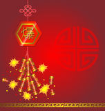 Firecracker Chinese new year. On red background Stock Images