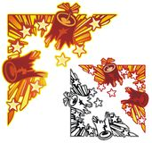 Firecracker corner ornament. Exploding firework corner element with non-gradient and black outline versions Stock Photos
