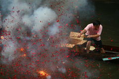 Firecracker on the Dragon boat Royalty Free Stock Photography