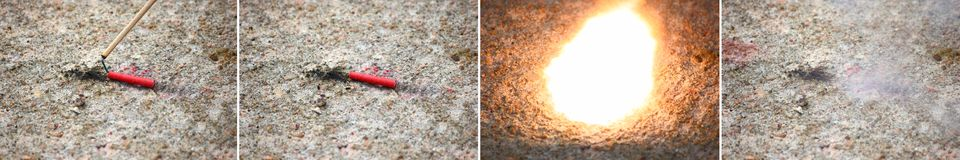 Firecracker Explosion Series Composite Stock Photography