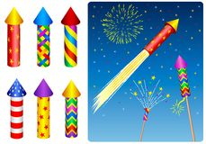 Firecracker, fireworks, rocket. Design elements Royalty Free Stock Photo