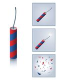 Firecracker with sequence. Firecracker and progression from unlit to exploded Royalty Free Stock Image