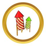 Firecracker vector icon, cartoon style. Firecracker vector icon in golden circle, cartoon style  on white background Royalty Free Stock Photos