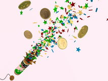 Firecracker whith money Royalty Free Stock Photography