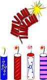 Firecrackers. And rockets over white for holidays Royalty Free Stock Image