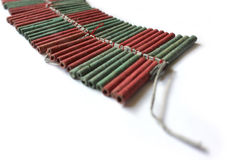 Firecrackers. A set of red and green firecrackers Royalty Free Stock Image