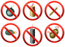 Firecrackers Banned. Vector set of prohibition signs indicating that the use of firecrackers and other small explosive devices is restricted (in certain Royalty Free Stock Photography