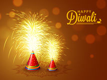 Firecrackers for Diwali Celebration. Elegant sparkle, Firecrackers on shiny brown background for Indian Festival of Lights, Happy Diwali Celebration Stock Image