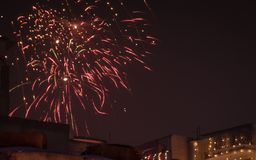 Firecrackers in a festival night royalty free stock photos