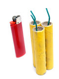 Firecrackers and lighter Stock Photo