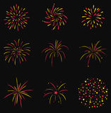 Firecrackers Set Vector. Vector Set Firecrackers isolated in dark background Royalty Free Stock Photo