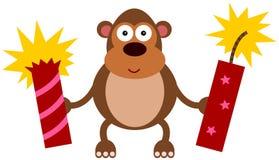 Firecraker della gorilla Immagini Stock
