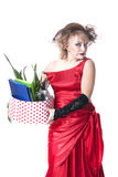 Fired actress with a box of things express her emotions Royalty Free Stock Photography