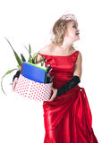 Fired actress with a box of things express her emotions Stock Image