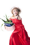 Fired actress with a box of things express her emotions Royalty Free Stock Photo
