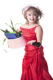 Fired actress with a box of things express her emotions Stock Photo
