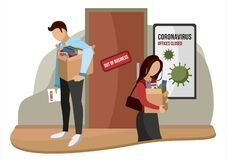 Free Fired And Dismissed People From Job. Dismissal, Severance, Termination In Case Of Coronavirus Or Virus COVID-19. Unemployed Royalty Free Stock Photo - 185192135
