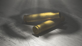 Fired bullets illuminated by skull shape. 3D rendering of death metaphore Stock Images