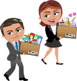 Fired Business Woman and Man Carrying Box. Fired Cartoon business woman Meg and business man Bob carrying a box of personal items  on white background. You can Stock Photo
