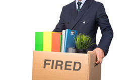 Fired businessman isolated Royalty Free Stock Image
