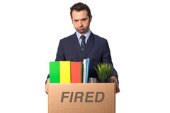 Fired businessman isolated Royalty Free Stock Photography