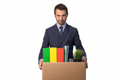 Fired businessman isolated Stock Photos