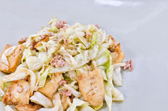 Fired Cabbage with Tofu Stock Photo