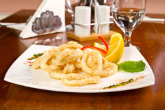 Fired calamari Stock Photos