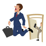 Fired. Cartoon illustration of a businessman being kicked out Stock Image