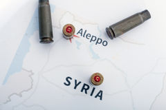The fired cases and bullets from rifle. Background view on section area of Aleppo, Syria. Royalty Free Stock Image