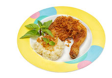 Fired chicken and sticky rice stock image