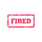 Fired inscription in red frame. Fired from job document stamp. Stock Photo