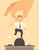 Fired / Layoff or Hand removing employee from desk. Cartoon illustration of a fired employee Stock Photography