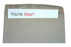 Fired letter, Open envelope with you're fired word stock photos